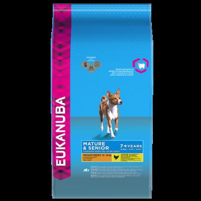 Eukanuba Mature & Senior Medium Breed, Kip  15 kg, 3 kg