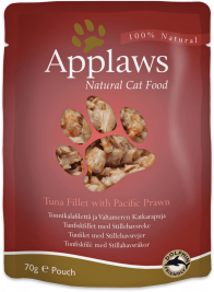 Frischebeutel Natural Cat Food Thunfischfilet und Pazifikgarnelen in Brühe Applaws  5060122493031