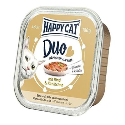 Happy Cat Duett av småbitar och pastej med Nöt & Kanin 100 g