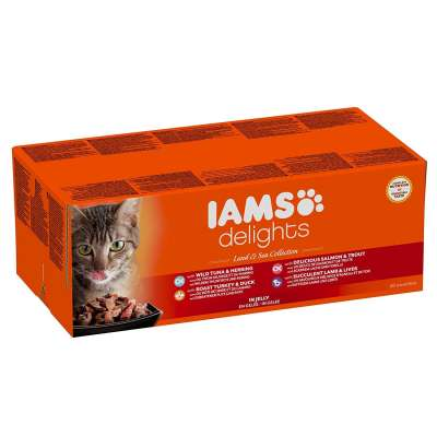 Iams Delicias Land and Sea Collection em Gelatina para Gatos Adultos 48x85 g