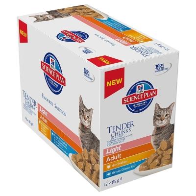 Hill's Science Plan Feline - Multipack Adult Light mit Huhn & Seefisch 12x85 g