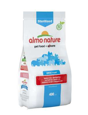 Almo Nature Sterilised Adult Cat mit Rind & Reis 2 kg, 400 g