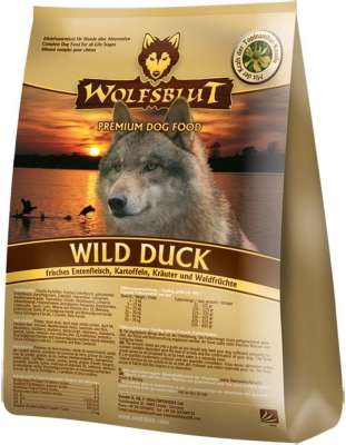 Wolfsblut Wild Duck Adult , Fresh Duck meat, Potatoes, Greenery and Berries  7.5 kg, 500 g, 2 kg, 15 kg