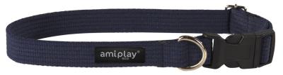 amiplay Adjustable Cotton Collar, Navy Blue laivastonsininen S