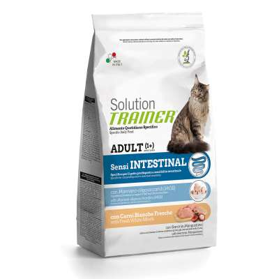 Nova Foods Solution Trainer Cat - Adult Sensi Intestinal com Carne Fresca Branco 1.5 kg