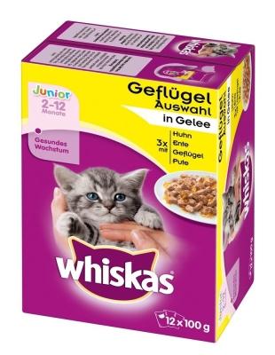 Whiskas Portionsbeutel Multipack Junior Geflügelauswahl in Gelee 12x100 g