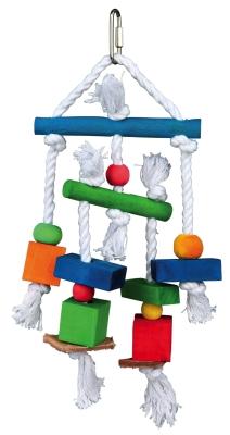 Trixie Holzspielzeug am Tau Verschiedenfarbig 24 cm