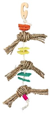 Trixie Naturspielzeug am Sisalseil, mit Luffa Verschiedenfarbig 43 cm