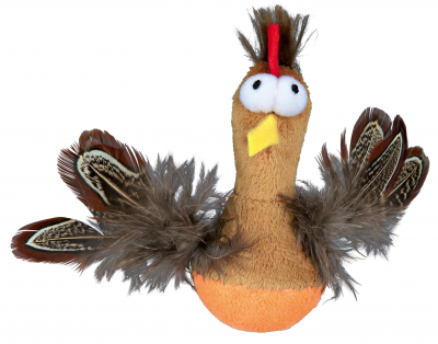Trixie Pollo Roly-Poly con Piume e Squittio, in Peluche Marrone 10 cm