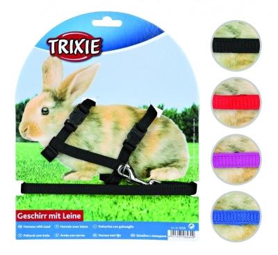 Trixie Geschirr mit Leine für Kaninchen, Nylon 25-44/1 cm
