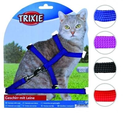 Trixie Stufenloses Verstellbares Katzengeschirr mit Leine, Nylon 22-42/1 cm