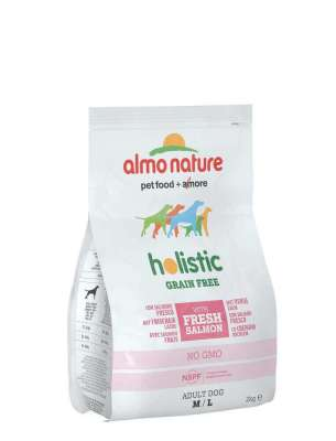 Almo Nature Holistic Grain Free, avec Saumon et Pomme-de-terre, M/L  12 kg, 2 kg