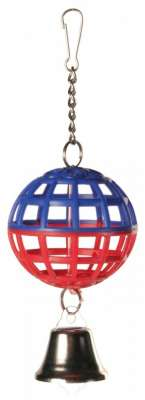 Trixie Lattice Ball with Chain and Bell Multicolor 7 cm