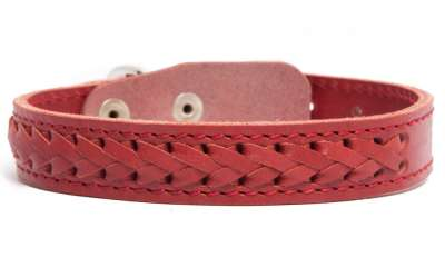 Bark&Bones Elita Collier en Cuir, Tressé, Simple Rouge 46-57x3.5 cm