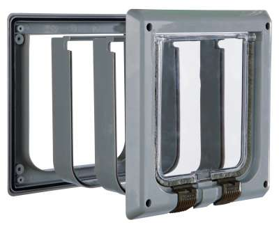 Trixie 4-Way Cat Flap with Tunnel 4-Way with Tunnel  Grå