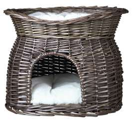 Trixie Wicker Cave with Bed and Cushions on Top  Tumman harmaa