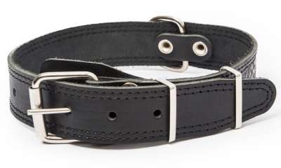 Bark&Bones Collar with Clasp, Pattern and Textile Back Nero 43-58x3.5 cm