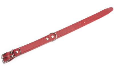 Bark&Bones Coleira de Couro com Fivela no Meio e Bordas Duplas Costuradas Vermelho 43-57x3.5 cm