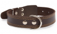 Bark&Bones  Leather collar with textile back, double stitched edges  Donker bruin winkel
