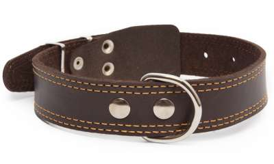 Bark&Bones Leather collar with textile back, double stitched edges Sötétbarna 54-66x3.5 cm