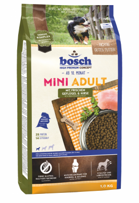 Bosch High Premium Concept - Mini Adult, Fjerkræ & Hirse  15 kg, 3 kg, 1 kg