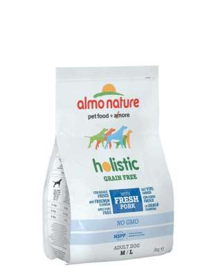 Almo Nature Holistic Grain Free, Medium + Large, Pork and Potatoes  12 kg, 2 kg