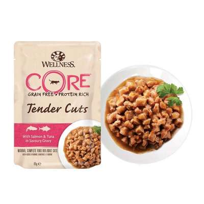 Wellness Pouch Core Tender Cuts with Salmon & Tuna in Savoury Gravy 85 g