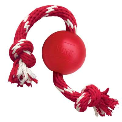 KONG Ball with Rope Small S Rouge