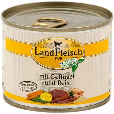 Landfleisch Pur Poultry & Rice extra low-fat with fresh vegetables Can  800 g, 400 g, 195 g