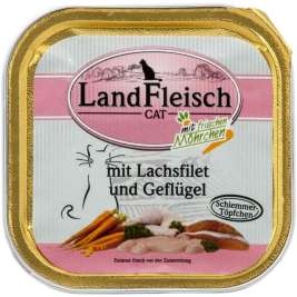 Cat Gourmet Pot Salmon fillet & Poultry with fresh Vegetables Tray Landfleisch 4003537001997