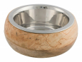 Trixie Stainless Steel Bowl with Wooden Holder  billige
