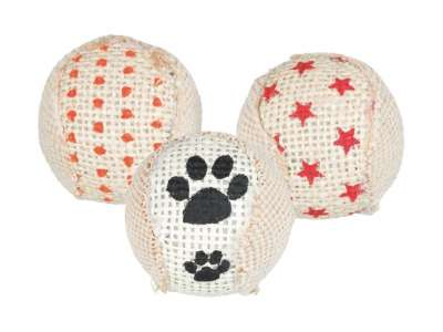 Trixie Set of Rattling Balls, Jute 5 cm