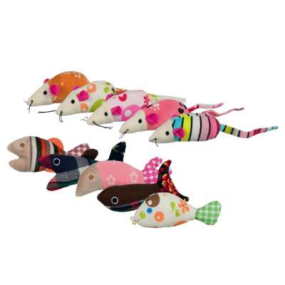 Trixie Mice and Fish, Plush 9-12 cm