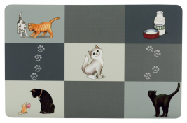 Trixie Patchwork Cat Place Mat  Grey