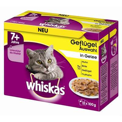 Whiskas Pouches 12 Multipack 7+ Poultry Variation in Gravy 12x100 g