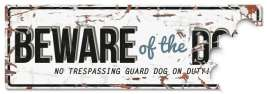 EBI D&D Homecollection Warning Sign - Beware of the Dog White Blue - English Version  Branco