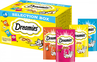 Dreamies Selection Box mit Huhn, Käse, Lachs, Rind 4x30 g