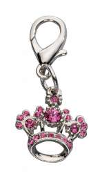 EBI Pendant Crown Czech Crystal  Hot pink
