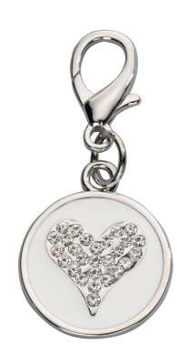 EBI Pendant Crystal Heart, Czech Crystal White