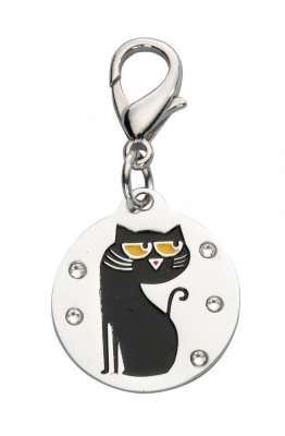 EBI Pendant Cartoon Cat, Swarovski Crystal - Black 2.6x2.3 cm
