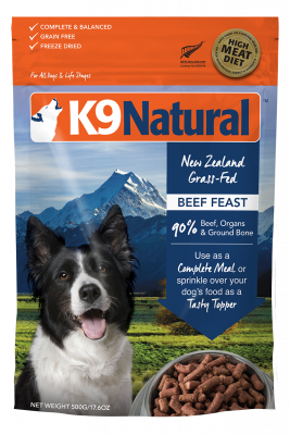 K9 Natural Freeze Dried Beef Feast  500 g, 3.6 kg