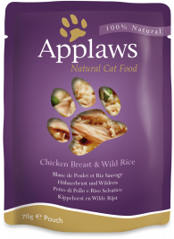 Frischebeutel Natural Cat Food Hühnerbrust und Wildreis in Brühe Applaws  5060333434878