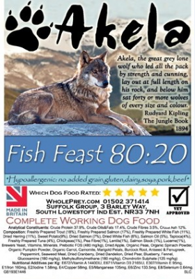 Akela Fish Feast Big Paws with Trout, Salmon and White Fish  10 kg, 1.5 kg