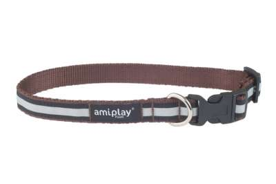 amiplay Adjustable Collar Shine Castanho M