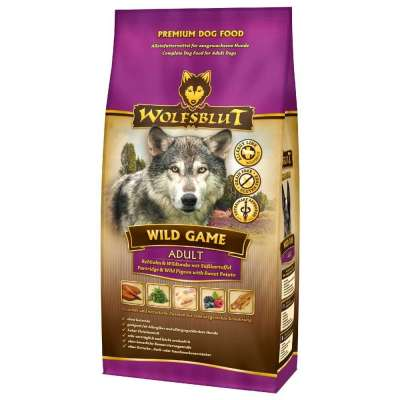 Wolfsblut Wild Game Adult avec Perdrix, Pigeon Sauvage et Patate Douce  500 g, 2 kg, 15 kg