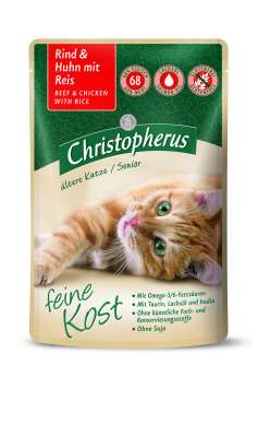 Christopherus Feine Kost Senior, Beef & Chicken with Rice in Pouch 85 g