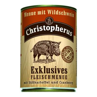 Christopherus Exclusive Meat Menu - Wild boar, Sweet potato and Cranberry Can  800 g, 400 g, 200 g