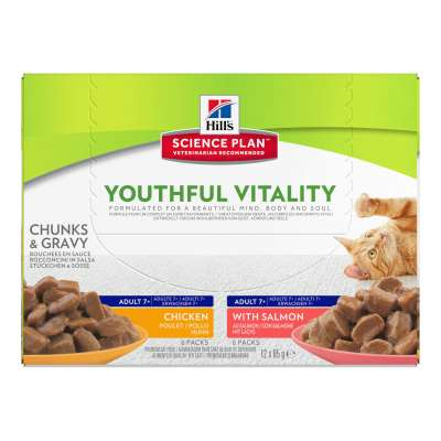 Hill's Science Plan Feline - Adult 7+ Youthful Vitality cu Somon și Pui 12x85 g