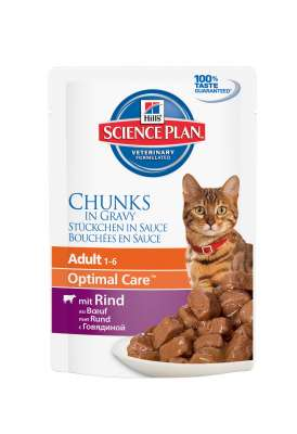 Hill's Science Plan Feline Adult Optimal Care met Rundvlees in Saus 85 g