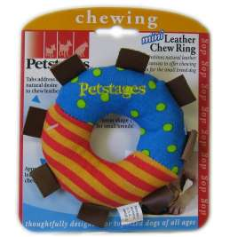 Petstages Mini Leather Chew Ring  Multicolore